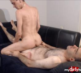 Slim twink riding his hairy husband's big dick